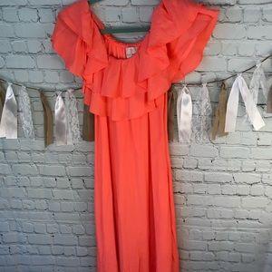 Julie Brown coral maxi dress off shoulder sz 2